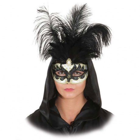 Karneval Klamotten Kostüm Veneziansiche Halbmaske mit Federn schwarz-gold Zubehör Venedig Barock Karneval