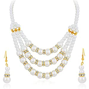 Sukkhi Glimmery Three Strings Gold Plated AD Necklace Set For Women