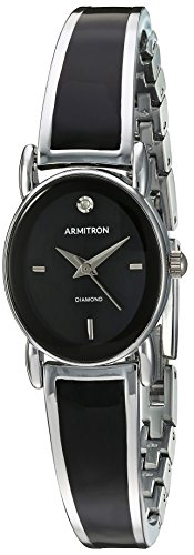 armitron-womens-75-5423bksv-diamond-accented-dial-silver-tone-and-black-bangle-watch