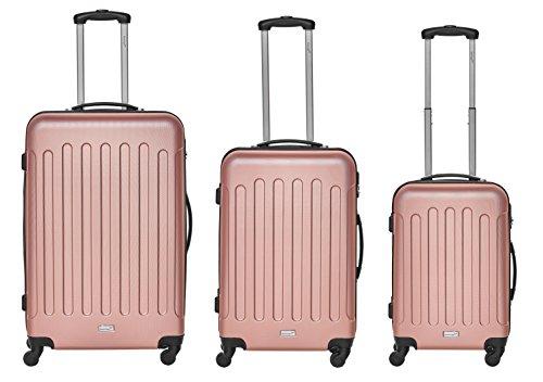 Packenger Kofferset - Travelstar - 3-teilig (M, L & XL), Mauve, 4 Rollen, Koffer mit Zahlenschloss, Hartschalenkoffer (ABS) robuster Trolley Reisekoffer