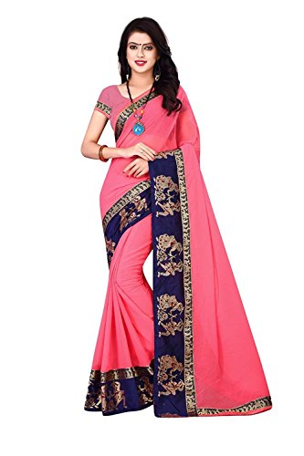 Leriya Fashion Georgette Saree With Blouse Piece (_Pink_Free Size)