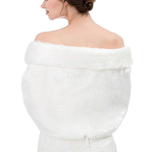 Sunzeus Boléro en fausse fourrure de châle coloré pour les accessoires de mariage nuptiale Chauds chapeaux de soirée dhiver Blanc