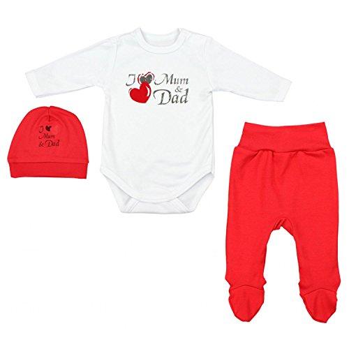 TupTam Baby Unisex Bekleidungsset mit Aufdruck 3 TLG, Farbe: I Love Mum and Dad Rot, Größe: 56 - Baby Mütze Rote