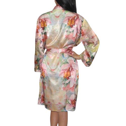 2PC SchlafanzŸge SET: Eterno Damen Gorgeous Silk Pajama / Loungewear Set: SchlafanzŸge Dress & Robe - Beige Beige
