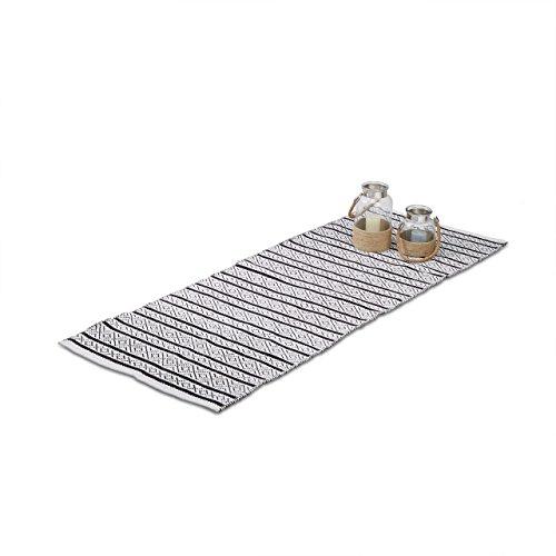 Relaxdays Teppich Läufer Flur 80x200 cm, Baumwolle, Handarbeit, Design Küchenläufer Kurzflor, Fußbodenheizung, schwarz-weiß