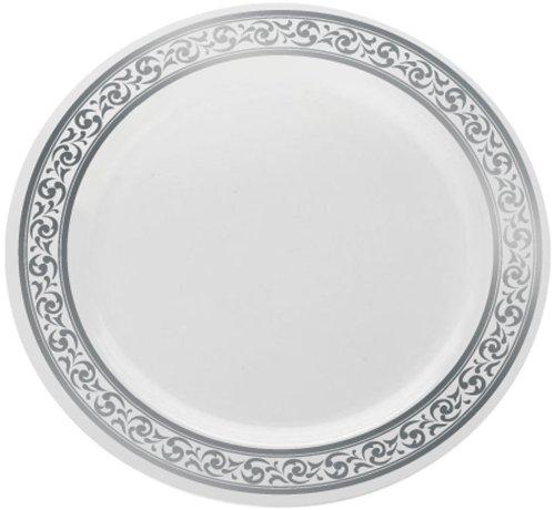 Decorline-Vaisselle de luxe à usage unique-Couleur blanc avec bord motif argent gaufré -Party-jetable -plastique rigide (Assiette 26 cm)