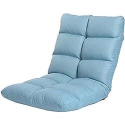 Puffs pera Floor Gaming Sofa Chair - Sillón reclinable Plegable Acolchado, 6 Posiciones, sillón reclinable Relajante Ajustable, Telas de Lino (Color : Azul)