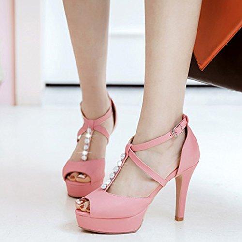 Oasap Women's Peep Toe Pearls T-strap Stiletto Heels Sandals Pink