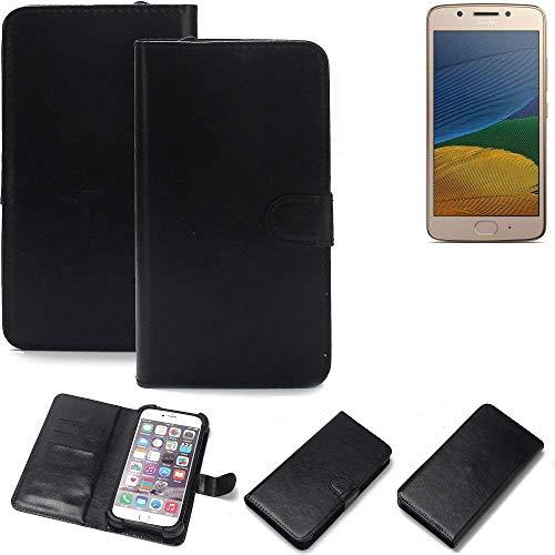 K-S-Trade Wallet Case Handyhülle Lenovo Moto G5 Single-SIM Schutz Hülle Smartphone Flip Cover Flipstyle Tasche Schutzhülle Flipcover Slim Bumper schwarz, 1x