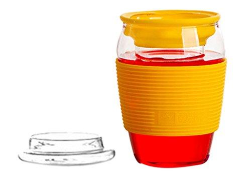 Y-BOA Ensemble Tasse Glasses Calorifuge Atoxique Ecologique Bureau Voyage Transport (jaune)