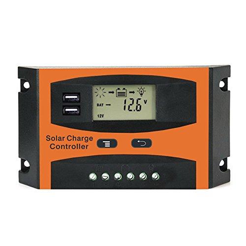 XZANTE 20A 12V 24V Solarregler LCD Funktion Dual USB 5VDC Ausgang Solarzellen Panel Batterieladeregler