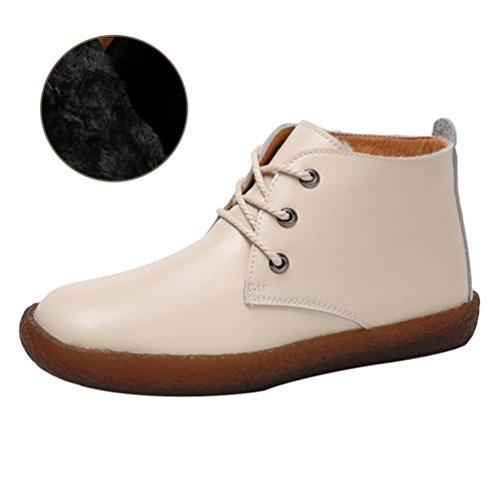 Yiiquan Femmes Ronde Tête Pu Chaussures En Cuir École Travail Bureau Casual Élégant Lacé Chaussures Plate Beige # 3