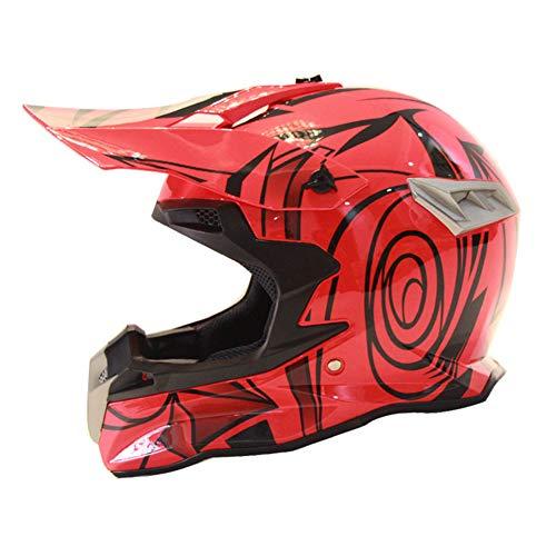 3GO X10-K Casque De Motocros Ece Certifi/é Dot Gar/çons Et Filles Homologue Sport Quad Atv Mx Off Road Enfants Orange XL