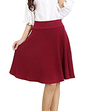 Tallas Grandes Falda Mujer Elástica Plisada Básica Patinador Multifuncional Falda Ala Rodilla