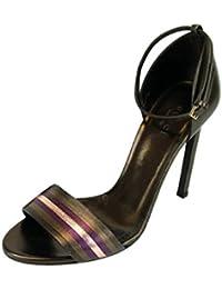 Gucci Sandalia de cuero metálico tobillo correa 339834 (6.5 U.S. / 36.5, marrón oscuro