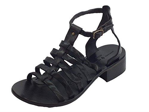 Mercanti fiorentini sandali artigianali per donna pelle tuffata nera fondo cuoio (taglia 35)