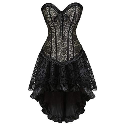 n Sexy Burlesque Lace Vollbrust Korsett Rock Set Bustier Kostüm S-6Xl @ 1_XL ()