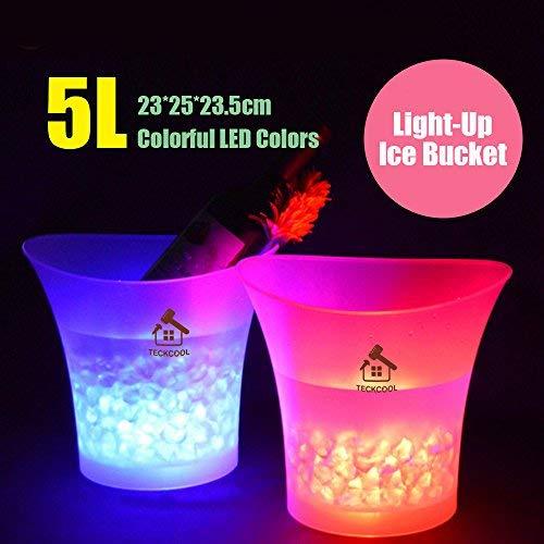 LED Eiskübel, TECKCOOL 5L Großraum Flaschenkühler - Sektkühler - Weinkühler - Getränkekühler - Kühler Led Wasserdicht mit Farbwechsel, für Party, Haus, Bar, etc (Batterien nicht enthalten)