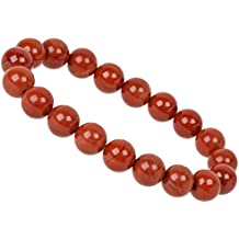 69cf5e677888 PowerBead Pulsera de Piedras Preciosas de 10 mm con Jaspe Rojo para Hombre  y Mujer