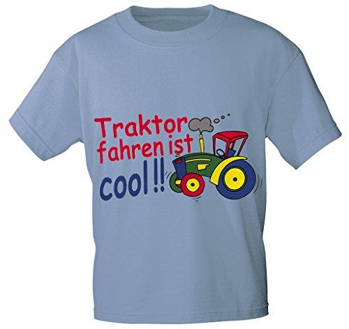 Kinder T-Shirt mit Aufdruck - TRAKTOR FAHREN IST COOL - 08233 - Gr. 86 - 164 in 5 Farben Color hellblau, Size 86/92
