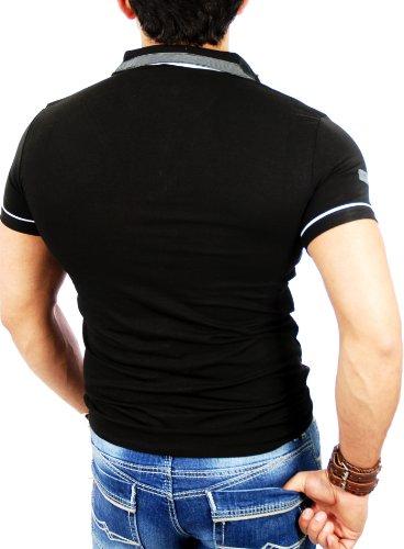 Reslad RS-5028 Herren T-Shirt Zipper Style Schwarz