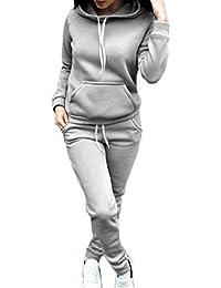 Mujer Chandal Ropa Deportiva Jersey Manga Larga con Capucha +Pantalones 2  Piezas Set Otoño Invierno ed9514fac7a3