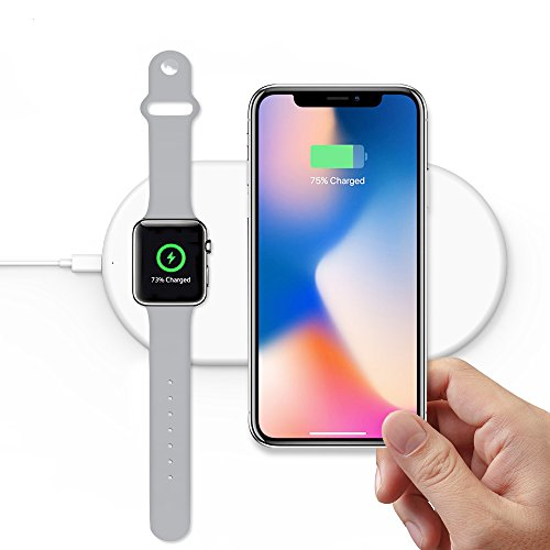 TATE GUARD Fast Wireless Charger,Schlankes tragbares Dual-Ladegerät,kabelloses Ladegerät kompatibel i'Watch 4|3|2|1|&i'Phone X/XS/XS MAX/XR/8 Plus/Galaxy S9/S9 Plus/Note9 oder anderes Qi-Gerät- Weiß Power-mat Apple