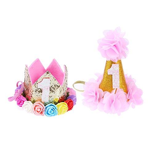 UKCOCO Geburtstag Partyhut mit Bunten Muster Design für Katze und Hund, Cosplay Kostüm Zubehör Headwear, 1-D (Silber und Rosa)
