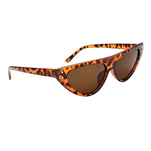 D DOLITY Vintage Flieger Sonnenbrille Reflektierende Spiegel 6 Farben - Leopard Frame Brown Lens, wie beschrieben