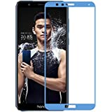 Plus 3D Premium Edge To Edge Full Glue , No Rainbow , Full Front Body Cover Tempered Full Glass Screen Protector Guard For Huawei Honor 7X - Pure Blue