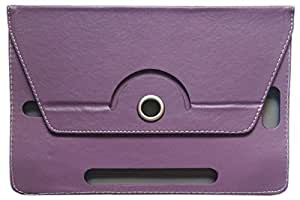 """KANICT 360° Rotating 7""""Inch Tablet Leather Flip Case Cover Compatible For Micromax Canvas Tab P702 Front Back Book Stand -Purple"""