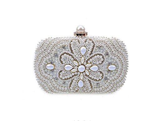 Damen elegante Luxus Edelstein Diamant Handgefertigt Perle Diamanten Abend Bag/Schulter Hand hält Abendessen Weiß