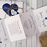 Personalised Wedding Invitations with Twine, Tag & Envelopes *Handmade Any Colour Heart Accordion Fold Design* (Pack of 10)