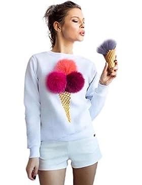 FEITONG La Camiseta de Las Mujeres Felpa de La Bola Manga Larga Blusa Ocasional suéteres de La Camisa (L, Blanco)
