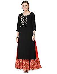 Varanga Women's Black Rayon Zari Embroidery Kurta With Skirt