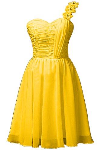 Missdressy Klassisch A-Linie Knielang Applikation Chiffon Celebritykleider Hochzeitskleider Brautjungfernkleider Gelb