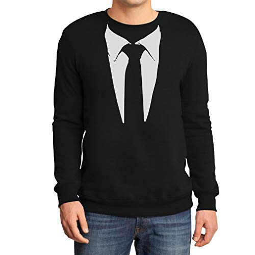 Gedruckter Anzug/Legendäre Stinson Krawatte Barney - Tuxedo Kostüm Party Schwarz Large Sweatshirt (Himym Barney Kostüm)