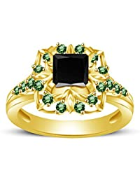 Atjewels Princess & Round Cut Black Cubic Zirconia & Green Emerald 14k Yellow Gold Over .925 Sterling Silver Engagement... - B077PV1NTS