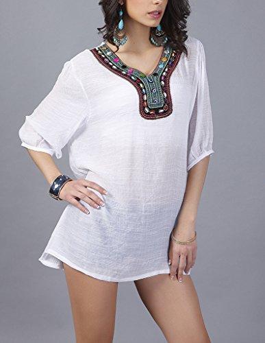 Frauen Tunika Große Größen Elegant V-Ausschnitt 3/4 Ärmel T-Shirts Ethno-Style Loose Muster Bestickt Perlstickerei Unique Normallacks Sundress Blusen Weiß