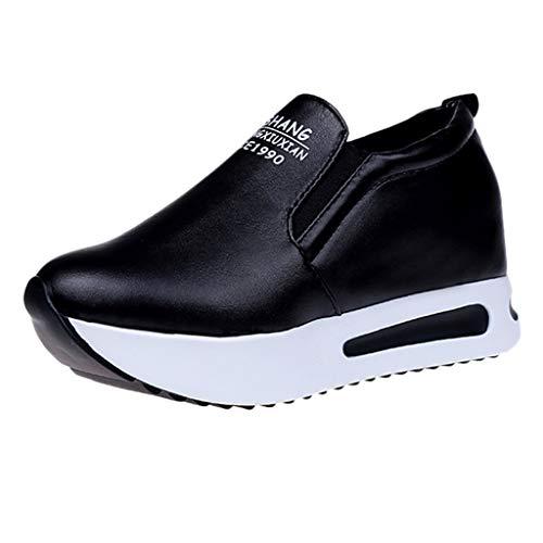 Damen Sneaker Mädchen Mode Laufschuhe Freizeit Leder Freizeitschuhe Sportschuhe mit Reißverschluss... (EU:38, Schwarz - E)