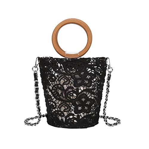 MA87 Damen Umhängetasche Wild Messenger Bag Kleine Frische Schultertasche aus Spitze (Schwarz) Pink Camouflage Messenger Bag
