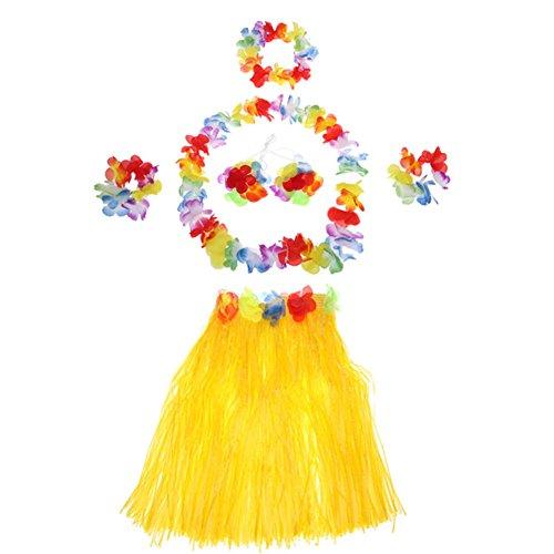 Demarkt Hawaii Party Kostüm Set von 5 Stück,Hawaiian Kostüm,Hawaii Rock,Hula Rock,Blume Stirnband,Blumen Armband Halskette Girlande, Mädchen Zubehör für Hula Luau Party, Einheitsgröße size 40cm (Gelb)