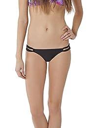 O'Neill Women's Solids Loop Tab Side Bikini Bottom, Black - MD