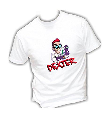 Social crazy t-shirt uomo cotone basic super vestibilità top qualità - dexter - divertente humor made in italy (xxl, bianca)
