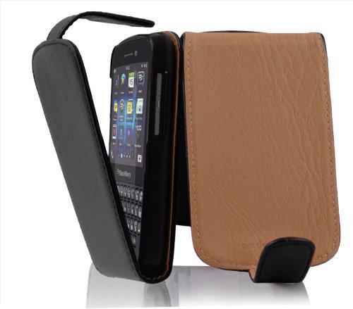 Cadorabo Hülle für BlackBerry Q10 - Hülle in Oxid SCHWARZ - Handyhülle aus Strukturiertem Kunstleder im Flip Design - Case Cover Schutzhülle Etui Tasche