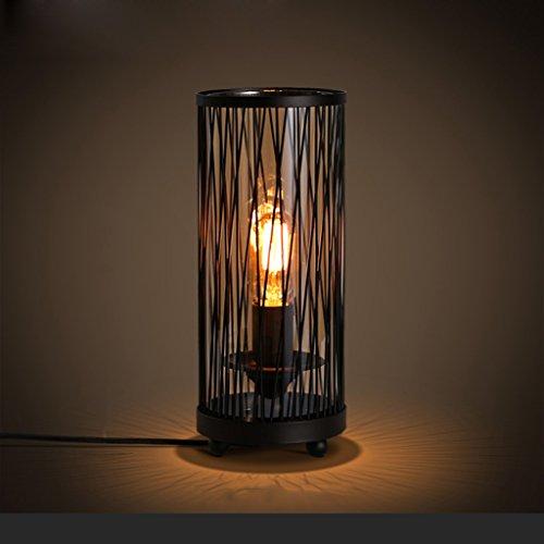 CS Kerzenständer Tischlampe Nachttisch Nachtlicht Industrie Stil Eisen Bar Schreibtischlampe Glas Lampenschirm Stecker Knopfschalter ( Size : B )
