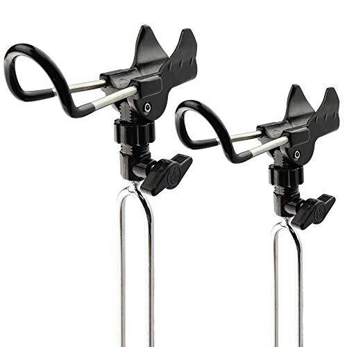 Shackcom Edelstahl Rutenhalter Angelrute Halter Ruten Ständer Rutenablage Halterung Einstellbar Fishing Rod Holder zum Angeln-1 Paar