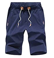 Tootlessly Men's Casual Drawstring Athletic Mid-Rise Waist Casual Pant Dark Blue 2XL