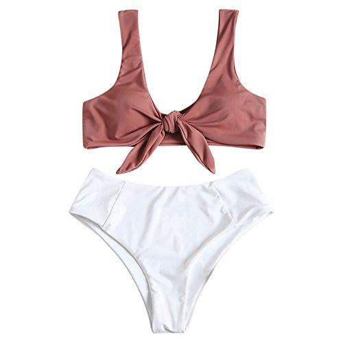 ZAFUL Damen Sexy Geknoteter High Waist Bikini Zweiteiliger Gepolsterter Badeanzug Beachwear(Pink Bow M)