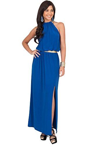Koh Koh Damen Ärmellose Nackenband Abnehmend Cocktail Maxikleid Lang Sommer Gown - Größe L - Kobalt Blau